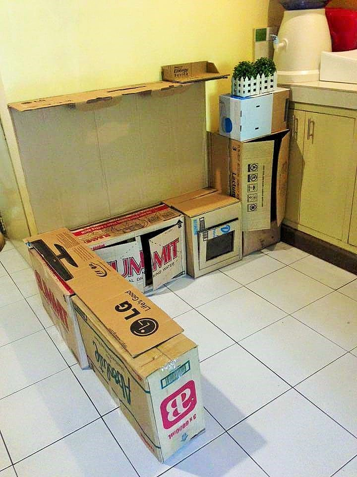 DIY Cardboard Play Kitchen Kids 2