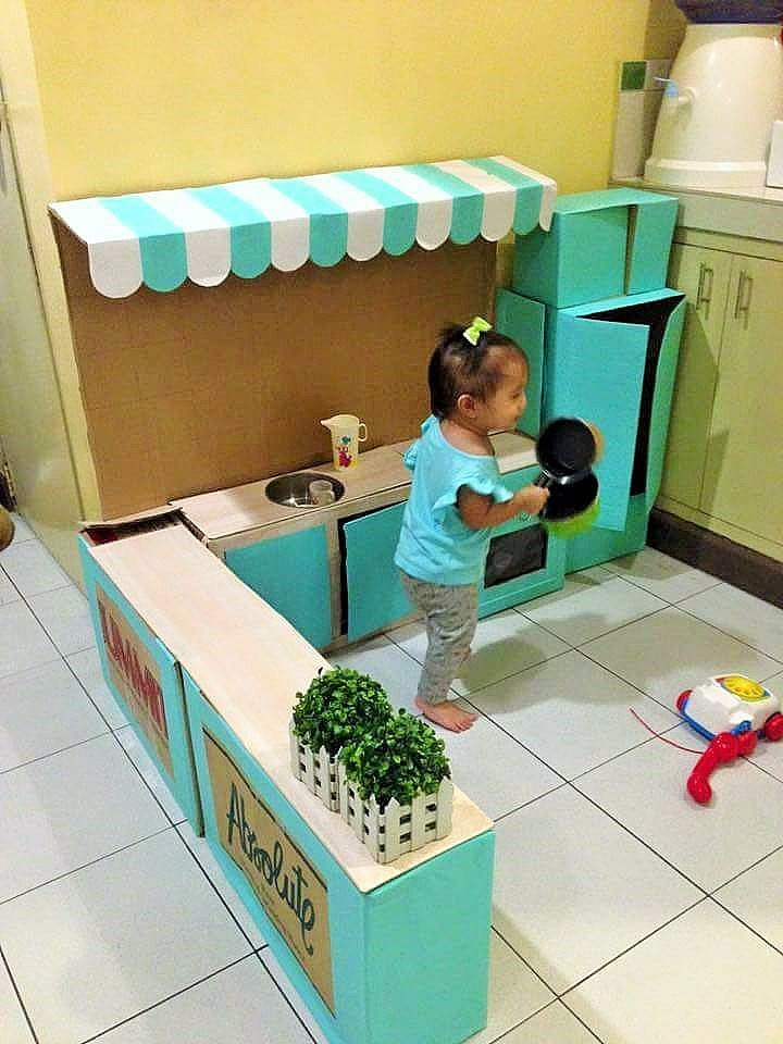 DIY Cardboard Play Kitchen Kids 3