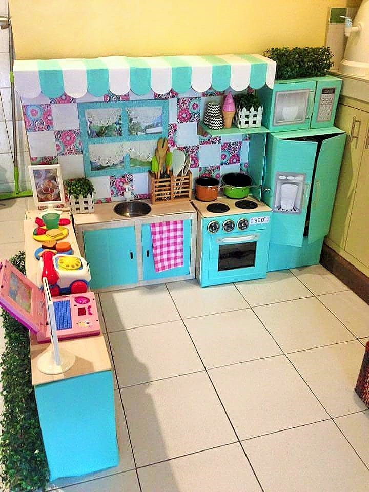 DIY Cardboard Play Kitchen Kids 5