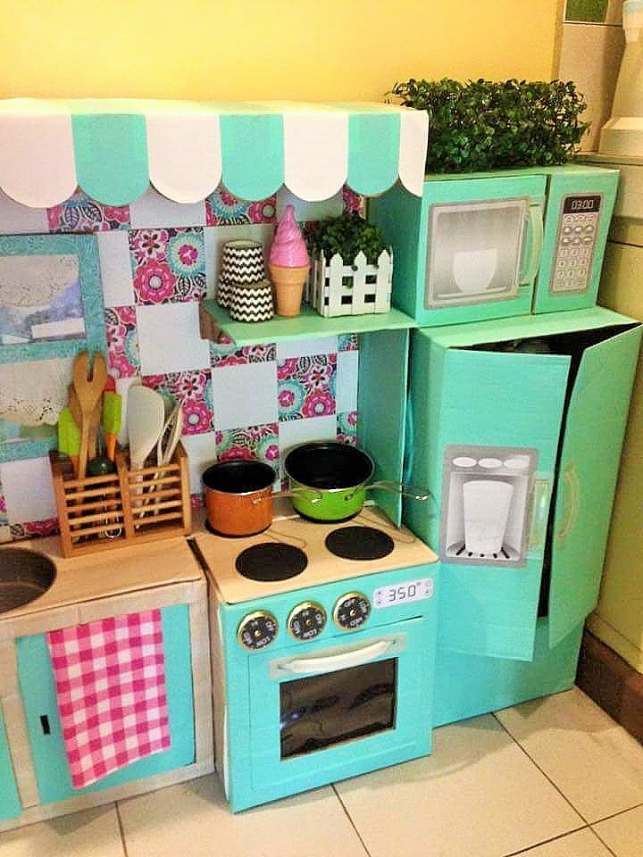 DIY Cardboard Play Kitchen Kids 6