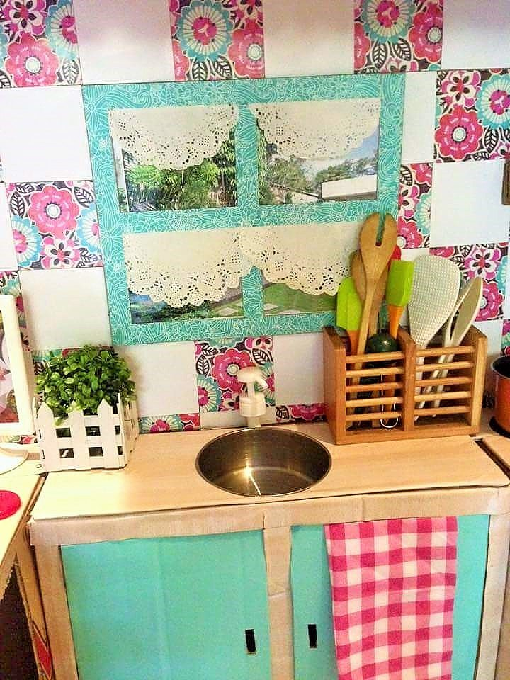 DIY Cardboard Play Kitchen Kids 7
