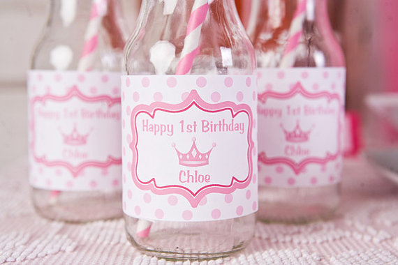 Princess Pinks Water Bottle Labels Birthday 570x380