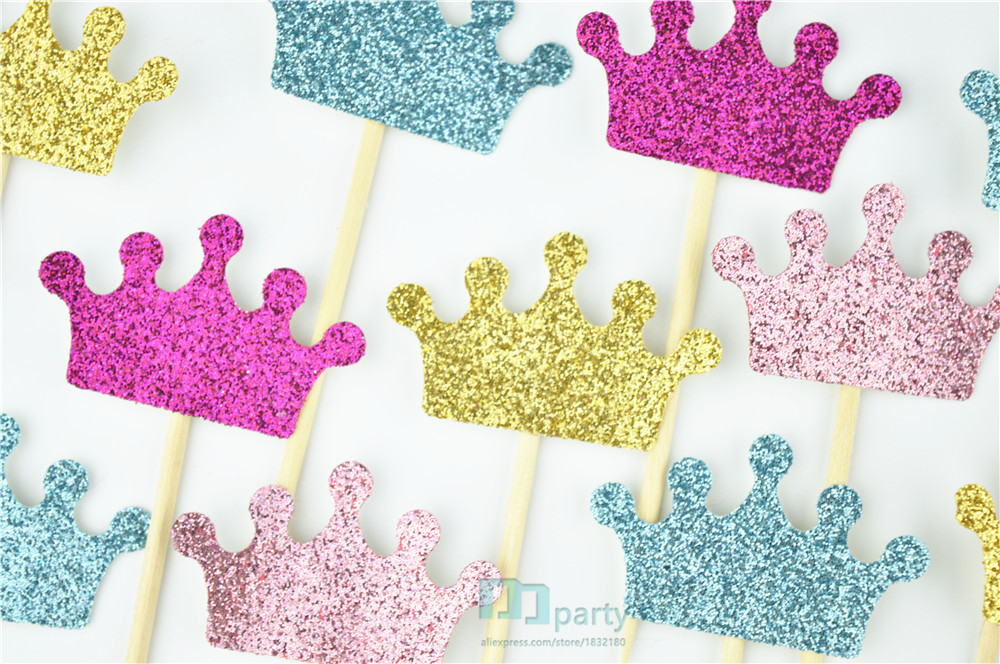 crown cupcake toppers glitter crowns princess party decorations font b prince b font font b birthday