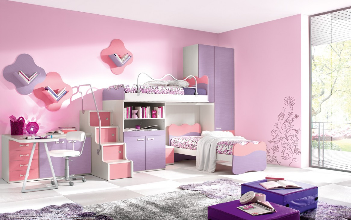 kids room attractive furniture design pink ikea kids room with white bunk bed and ladder also rack cabinet storage plus minimalist white desk and chair also large purple wardrobe in the corner as well