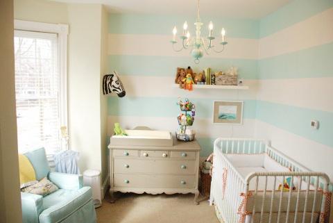 striped walls in nursery