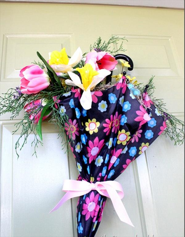 Dit Spring door decor with umberla flowers