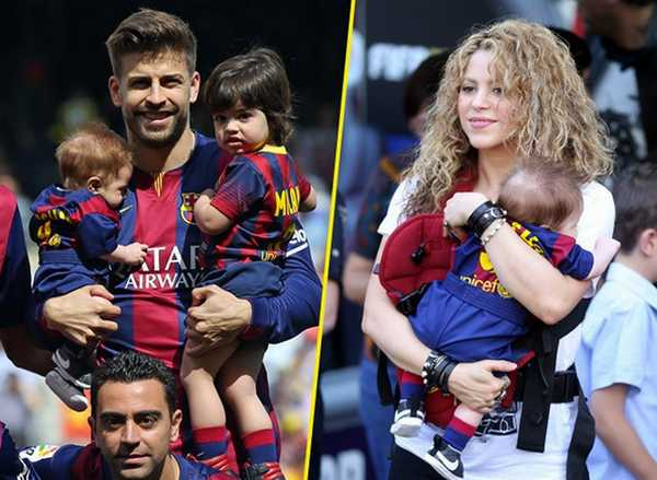 Football family Shakira And Gerard Pique Official Debut With Milan and Sasha