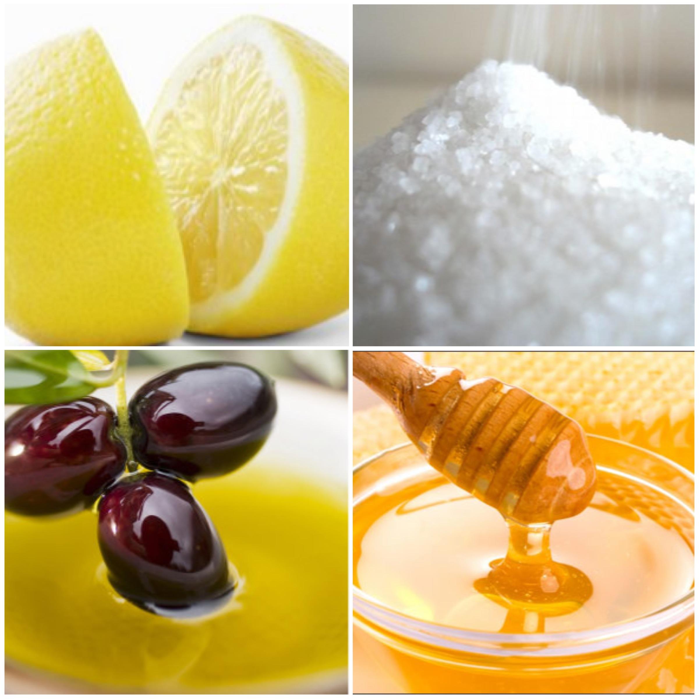 lemon sugar olive oil honey scrub