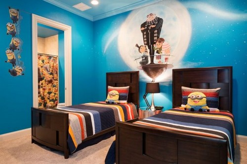 The moon and stars glow in the dark in this Despicable Me themed bedroom