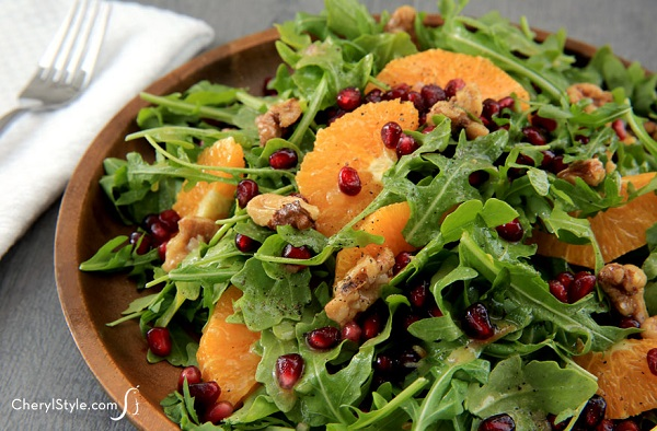 arugula salad with orange vinaigrette cherylstyle H