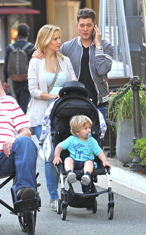 Michael Buble out shopping with his wife Luisana and son Noah at The Grove