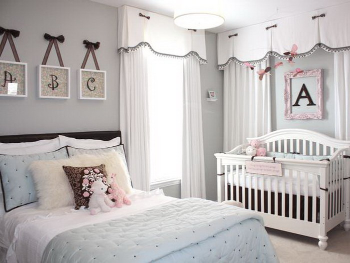 Grey Master Bedroom with Nursery Beds