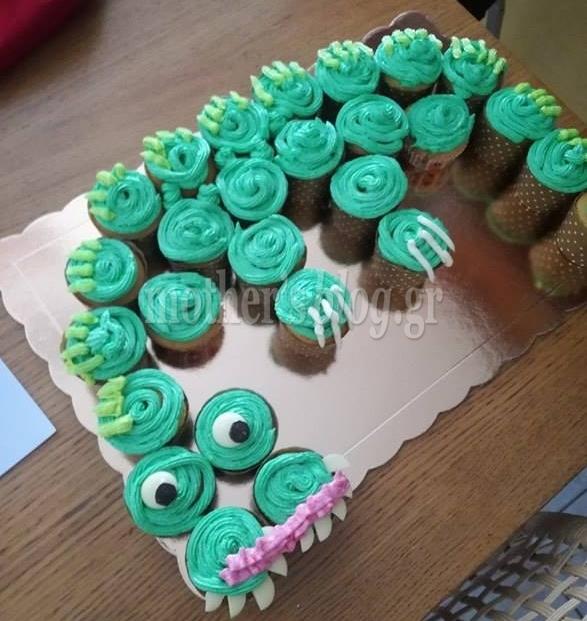 tourta drakou apo cupcakes