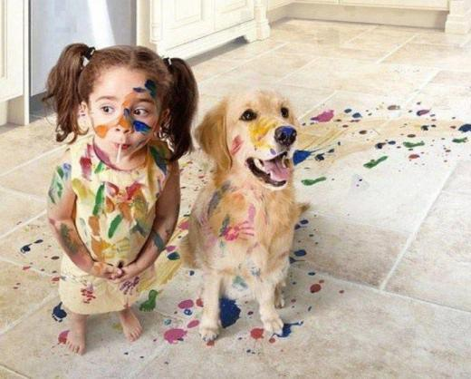 child painting mess
