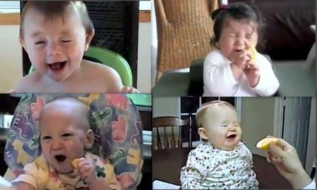 Αστείο Video: Δείτε πώς αντιδρούν τα μωρά όταν τρώνε λεμόνι!