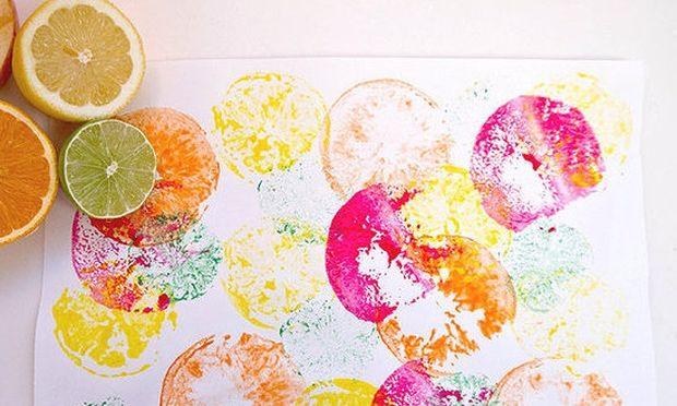 Αποτυπώματα φρούτων σε χαρτί