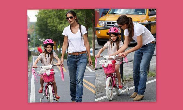 Όταν η Katie Holmes μαθαίνει ποδήλατο στη Suri!