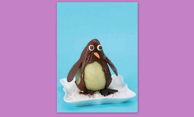 Ένας πιγκουίνος από αχλάδι και σοκολάτα!
