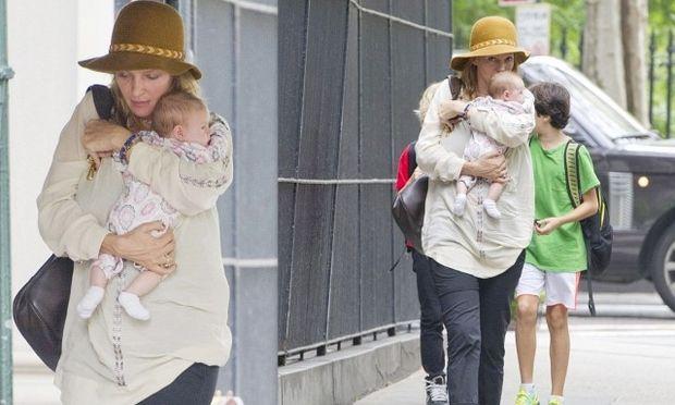 Uma Thurman: Τρυφερή μητέρα για τη νεογέννητη κόρη της!