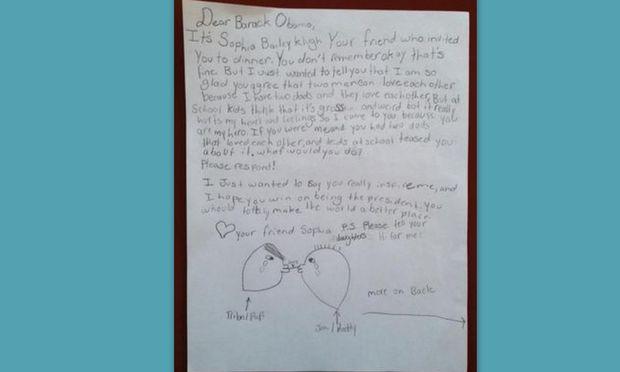 Δεκάχρονη έγραψε γράμμα στον Obama για τους γάμους των ομοφυλόφιλων και εκείνος της απάντησε!