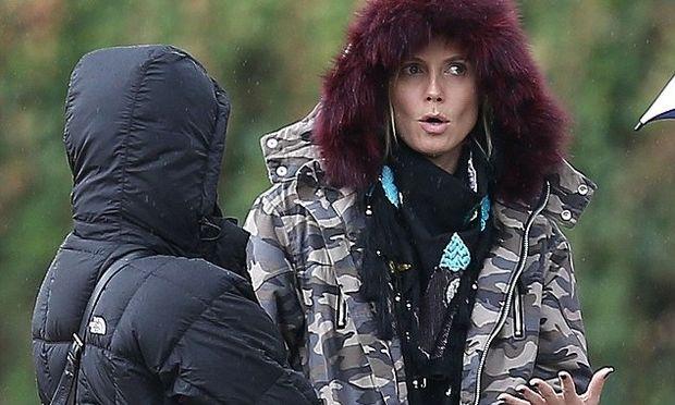 Heidi Klum: Ούτε το κρύο, ούτε η βροχή δεν τη σταμάτησαν από το να δει τον αγώνα του γιου της!