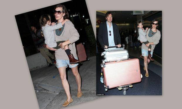 Milla Jovovich: Μαμά και κόρη αγκαλιά στο αεροδρόμιο!