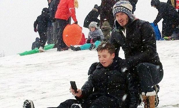 David Beckham: Με τα αγόρια στα χιόνια!