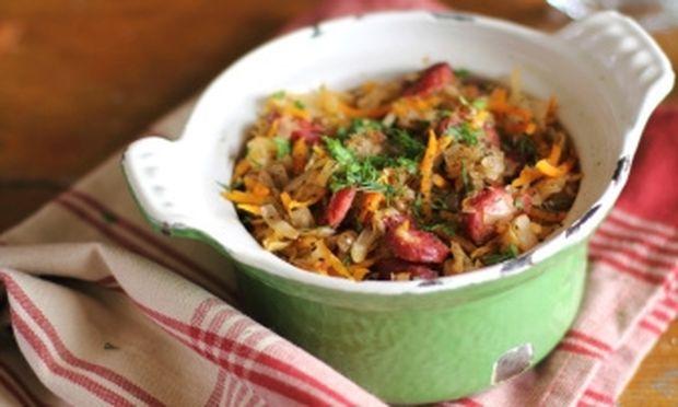 Κρέας σε μπουκίτσες με λάχανο και πράσο!