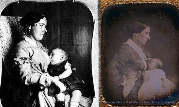 Περίεργα φωτογραφικά πορτρέτα γυναικών του 1800 να θηλάζουν τα παιδιά τους προβληματίζουν τους Κοινωνιολόγους και τους Ιστορικούς! (φωτό)