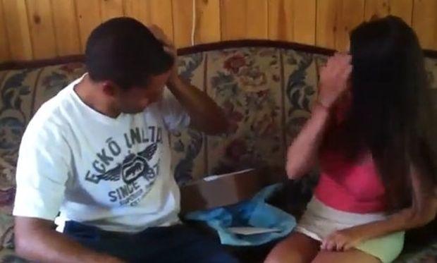 Του είπε ότι είναι έγκυος και έβαλε τα κλάματα! (βίντεο)