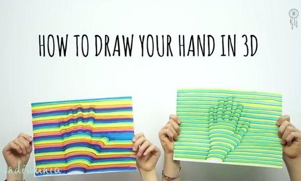 Ζωγραφίζουμε τα περιγράμματα χεριών των παιδιών μας σε 3D! (βίντεο)