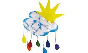 Κατασκευάζουμε διακοσμητικό σύννεφο με πολύχρωμη βροχή