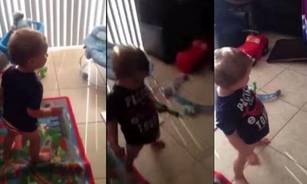 Μπαμπάς λέει στο γιο του να «κάνει» τη μαμά. Θα πέσετε κάτω από τα γέλια μόλις δείτε τι εννοούσε! (βίντεο)