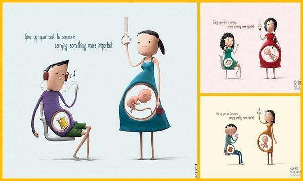 Σκίτσα που αποτυπώνουν το γιατί οι έγκυες χρειάζονται μια θέση στα Μέσα Μαζικής Μεταφοράς!