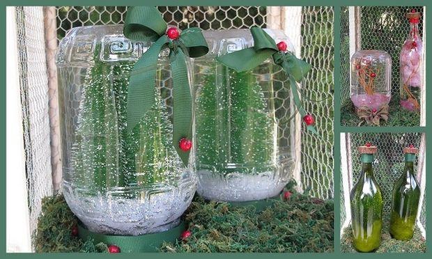 Χριστουγεννιάτικη διακόσμηση με μπουκάλια και γυάλες!