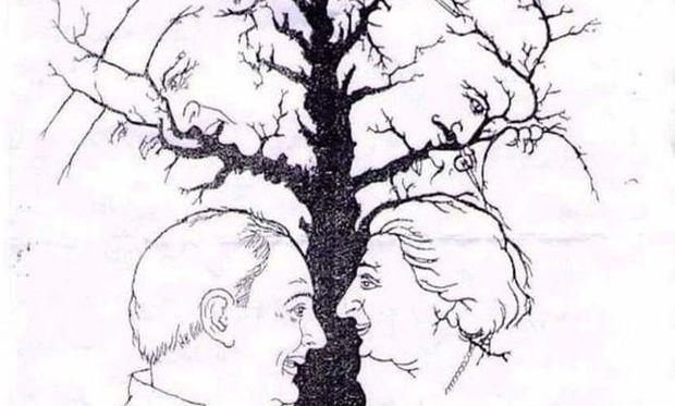 Σπαζοκεφαλιά: Πόσα πρόσωπα βλέπετε στο σκίτσο; (φωτό)