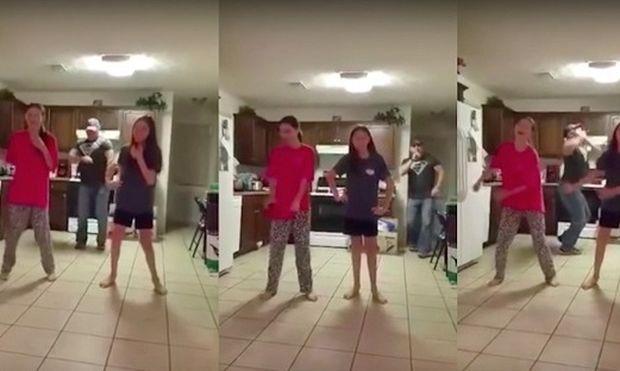 Ξεκαρδιστικό: Μπαμπάς χορεύει μαζί με τις κόρες του χωρίς να το γνωρίζουν! (βίντεο)