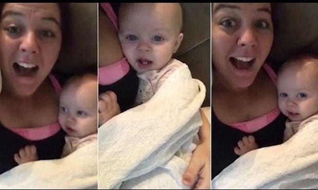 Απολαυστικό: Δείτε το 5 μηνών κοριτσάκι να μιμείται τη μητέρα του όταν λέει τραγουδιστά «Σ'αγαπώ»
