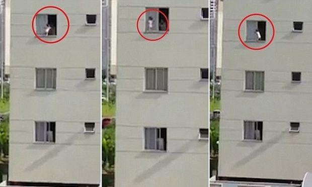 Δεν το χωράει ανθρώπινος νους: Μωρό περπατά στο περβάζι παραθύρου στον 3ο όροφο! (βίντεο)
