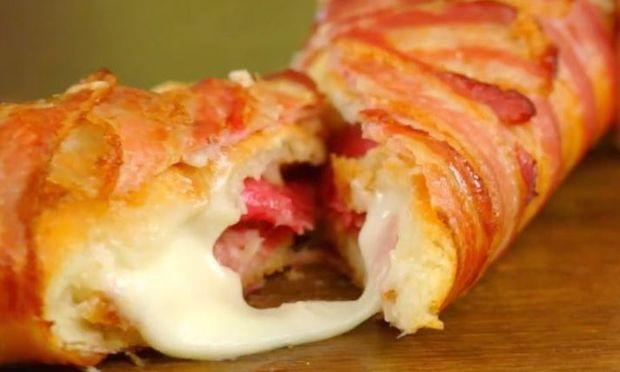 Φαγητό για πάρτι: Λαχταριστή μπαγκέτα γαλλική γεμιστή και τυλιγμένη σε μπέικον! (βίντεο)