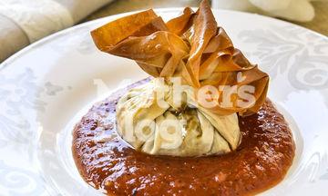 Πουγκιά μελιτζάνας με σάλτσα ψητής πιπεριάς από τον Γιώργο Γεράρδο