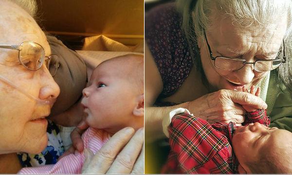 Συγκινητική στιγμή: Ηλικιωμένοι κρατούν για πρώτη φορά αγκαλιά τα εγγόνια τους (photos)