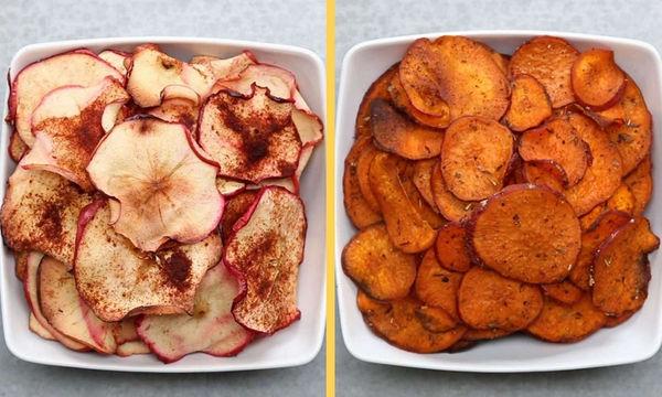 Δείτε πώς θα φτιάξετε στο σπίτι υγιεινά τσιπς μήλου και γλυκοπατάτας