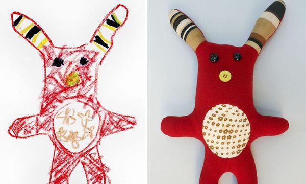 Σχεδιάστρια μετατρέπει τις παιδικές ζωγραφιές σε πάνινα παιχνίδια