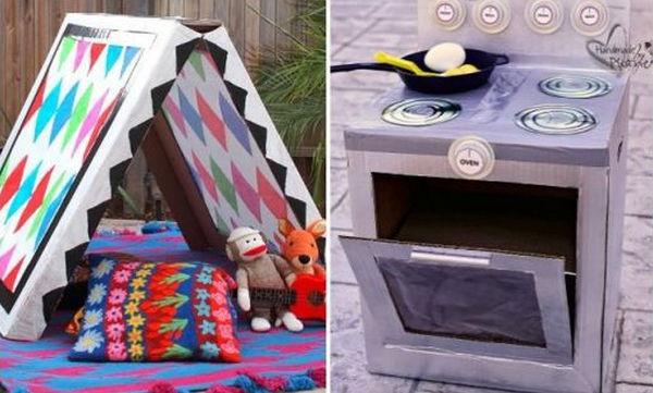 DIY: Δεκαοχτώ φανταστικές κατασκευές για παιδιά με χαρτόκουτο (pics)