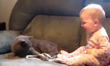 Ποιος είπε ότι οι γάτες δεν αγαπάνε τα παιδιά; (video)