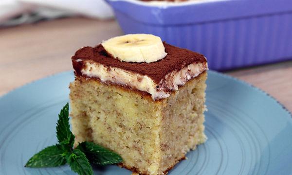 Αφράτο κέικ μπανάνας με κρέμα βανίλιας (vid)