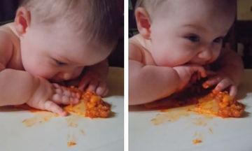 Του δίνει να φάει λαζάνια και το μωράκι ενθουσιάζεται (vid)