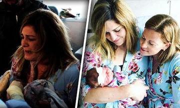 Ξέσπασε σε κλάματα όταν η καλύτερή της φίλη (και παρένθετη μητέρα) γέννησε το παιδί της (vid)