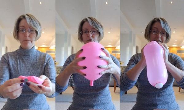 Κατάφερε με ένα μπαλόνι και ένα μπαλάκι του ping pong να δείξει πώς μοιάζει ο τοκετός κι έγινε viral